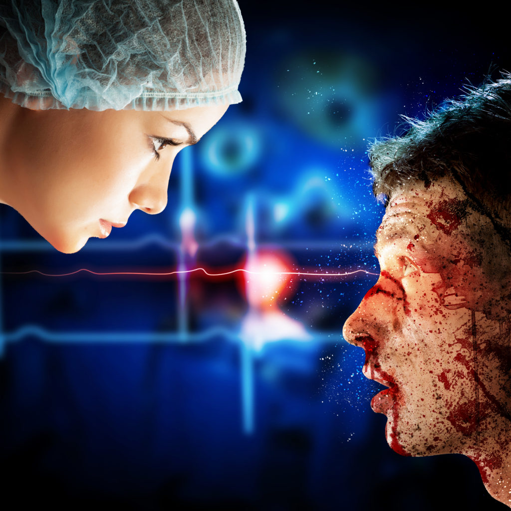 Doctor and Patient with injured face, plastic surgery for scars miami